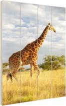 Giraffe bij zonsopgang Hout 20x30 cm - klein - Foto print op Hout (Wanddecoratie)