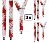 3x Bretel wit met bloed