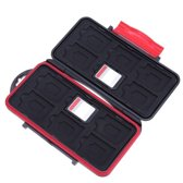 Geheugen kaart houder voor 12 SD of microSD kaarten- memory card storage box for 12 SD or Micro SD cards- SD card case- SD kaart doosje- SD card organizer- geheugenkaart doosje- SD kaart organizer- SD opbergdoosje- geheugenkaart  rood - zwart