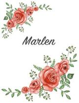 Marlen: Personalized Composition Notebook - Vintage Floral Pattern (Red Rose Blooms). College Ruled (Lined) Journal for School