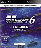 Sony PlayStation Gran Turismo 6 Abonnement Nederland 1 Miljoen Game Credits PS3 + PSN