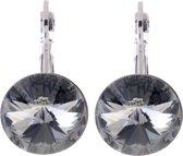 Oorhanger rond 14 mm met grijze Black Diamond Swarvoski Elements