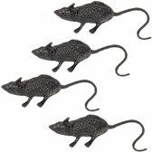 Halloween - 4 zwarte decoratie ratten 6 cm
