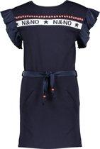 NONO Meisjes Jurkje Maya in stretchkatoen met logoprint - Donkerblauw - Maat 122/128