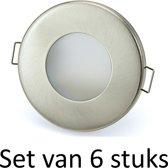 3W GU10 badkamer inbouwspot Zilver mat rond | Koel wit |Set van 6 stuks