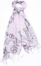 Sjaal Amsterdam crème met bruin/roze print