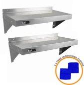 KuKoo – Wandschap - RVS Keuken plank – Roestvast wandplank set 2x – 90cm x 30cm