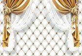 Fotobehang Golden Curtains | L - 152.5cm x 104cm | 130g/m2 Vlies