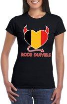 Zwart Belgie rode duivels hart supporter shirt dames S