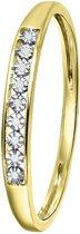 Lucardi - Diamond Luxury - 14 Karaat geelgouden ring met diamant (0,02ct)