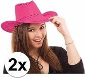 2x Voordelige roze Toppers cowboy hoed met stiksels