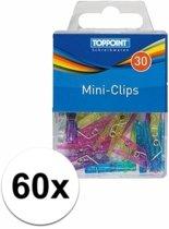 60x gekleurde plastic mini knijpertjes - kleine/ mini knijpers