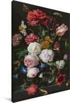 Stilleven met bloemen in een glazen vaas - Schilderij van Jan Davidsz de Heem Canvas 80x120 cm - Foto print op Canvas schilderij (Wanddecoratie woonkamer / slaapkamer)