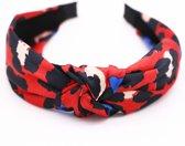 Haarband/diadeem met luipaard print, rood