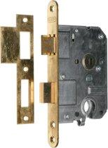 Nemef cilinderslot 1269/5 rechts - Doornmaat 50mm - Messing voorplaat - Met sluitplaat - Met bevestigingsmateriaal - In zichtverpakking