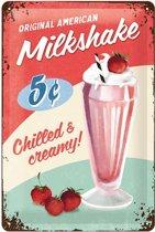 American Milkshake  Metalen wandbord in reliëf 20x30 cm