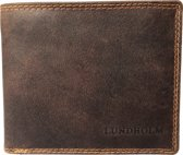 Lundholm leren portemonnee heren leer bruin - compact model hoogwaardig leder