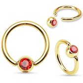 Smiley piercing ring gold plated rood steentje