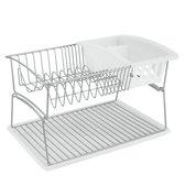 Metaltex - Genius-Tex Polytherm Silver afdruiprek 45x31x28 cm - 2 verdiepingen - met bestekhouder + plastieken blad