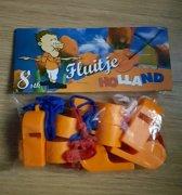 Oranje fluitjes 8 stuks