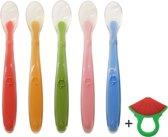 Siliconen baby lepels met soft tip (5 stuks + gratis bijtring) - eetlepel - lepel - lepeltjes - babybestek - eerste hapjes na 4 maanden - 100% BPA vrij