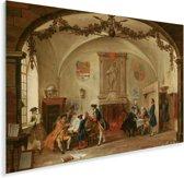 Kortegaarde - Schilderij van Cornelis Troost Plexiglas 90x60 cm - Foto print op Glas (Plexiglas wanddecoratie)