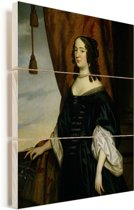 Portret van Amalia van Solms - Schilderij van Gerard van Honthorst Vurenhout met planken 30x40 cm - klein - Foto print op Hout (Wanddecoratie)