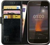 Rosso Element Nokia 1 Hoesje Book Cover Zwart | Ruimte voor drie pasjes | Opbergvakje voor briefgeld | Handige stand functie | Magneetsluiting