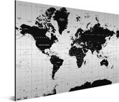 Wereldkaart Zwart Wit Aluminium - modern - 90x60 cm | Wereldkaart Wanddecoratie Aluminium