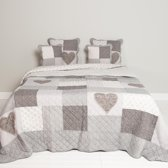 Clayre & Eef Bedsprei / Quilt Lovely Grijs 230 x 260 cm