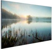Zonsopkomst bij het meer Aluminium 30x20 cm - klein - Foto print op Aluminium (metaal wanddecoratie)