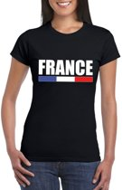 Zwart Frankrijk supporter t-shirt voor dames M