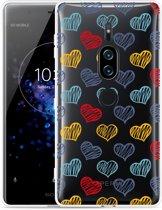 Xperia XZ2 Premium Hoesje Doodle hearts