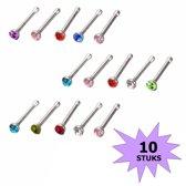 Fako Bijoux® - Neuspiercing - Staafje Kristal - Gekleurd - 10 Stuks