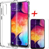 Samsung Galaxy A30s Hoesje + Screenprotector Case Friendly - Shockproof Case Transparant Cover - iCall