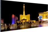 Verlichte Las Vegas strip Aluminium 90x60 cm - Foto print op Aluminium (metaal wanddecoratie)