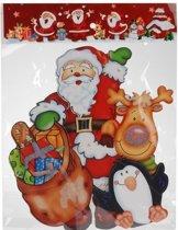 Kerst decoratie raamstickers 3D Kerstman/pinguin 25 x 34 cm