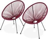 Set van 2 design stoelen ei-vormig - Acapulco Bordeauxrood  - Stoelen 4 poten retro design, plastic koorden, binnen/buiten