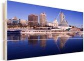 De haven van Milwaukee in de Amerikaanse staat Wisconsin Vurenhout met planken 80x40 cm - Foto print op Hout (Wanddecoratie)
