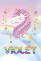Violet: Violet Unicorn Notebook Rainbow Journal 6x9 Personalized Customized Gift For Someones Surname Or First Name is Violet