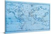 Blauwe wereldkaart met magnetic curves Aluminium 90x60 cm