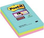 Post-it® Super Sticky notes - Kleurenset Miami, Aquawave, Neon Groen, Neon Rose - Gelijnd - 3 blokken