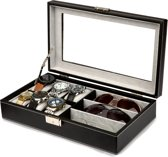 LifeGoods Luxe Horloge en Zonnebrillen Doos - Opberg box - Kist met 6 Houders/Compartimenten - Glazen Deksel - Dames en Heren - Leer - Zwart