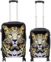 2 delig kofferset Polycarbonaat met unieke print - Leopard | 58cm - 68cm | 118 Liter