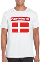 Denemarken t-shirt met Deense vlag wit heren L