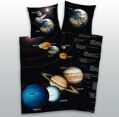Earth Planet dekbedovertrek - Zwart - 1-persoons (140x200 cm + 1 sloop)