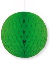 Decoratie bol groen 10 cm - papieren kerstbal