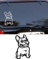 Franse Bulldog sticker wit, sticker hond, raamsticker, autosticker hond, franse bulldog autosticker,  sticker voor skateboard, koffer, laptop, tablet, Ipad, auto, gladde muur etc.