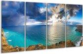 Glasschilderij Zee | Blauw, Wit, Grijs | 160x80cm 4Luik | Foto print op Glas |  F000678