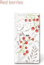 10 ZAKDOEKJES PAPIER Red berries